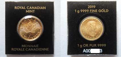 金貨1gの表と裏