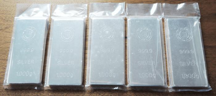 銀のインゴット_徳力本店 5枚